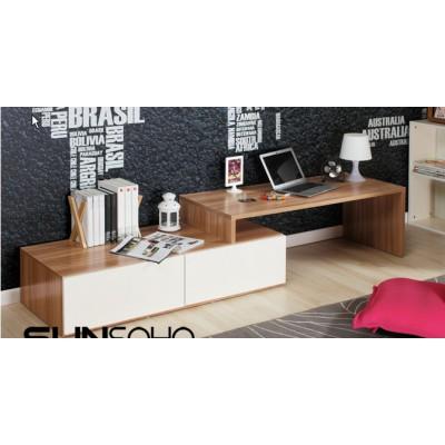 淺胡桃木 多角度   雙抽屜+ 電腦桌 (全套) 陳列貨品,只此一件長1200(2000)×寬500×高430mm