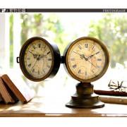 美式 復古 雙面 地圖 靜音 座檯鐘