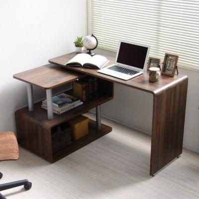 日本進口 曲尺電腦檯 側桌可旋轉360度 WALNUT
